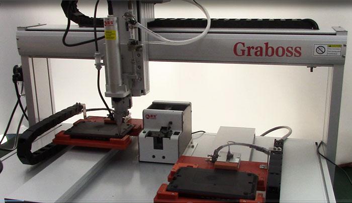 苏州锁机顶盒吸气式四轴双Y全自动送锁螺丝机案例