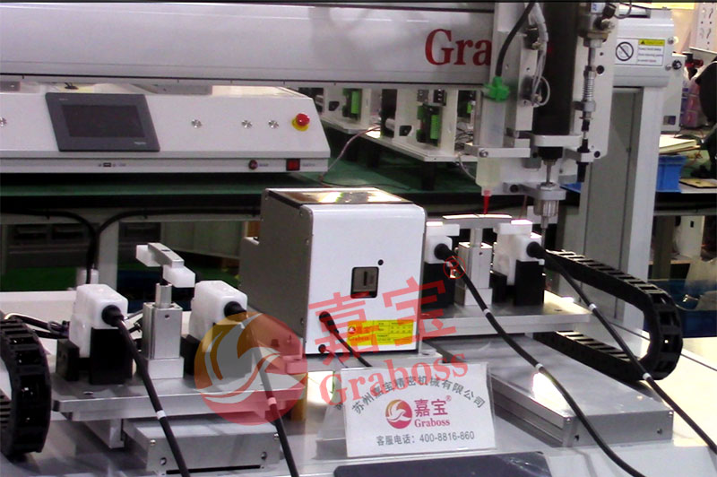 苏州某有限公司气吹式点胶锁付健身器材配件螺丝机案例
