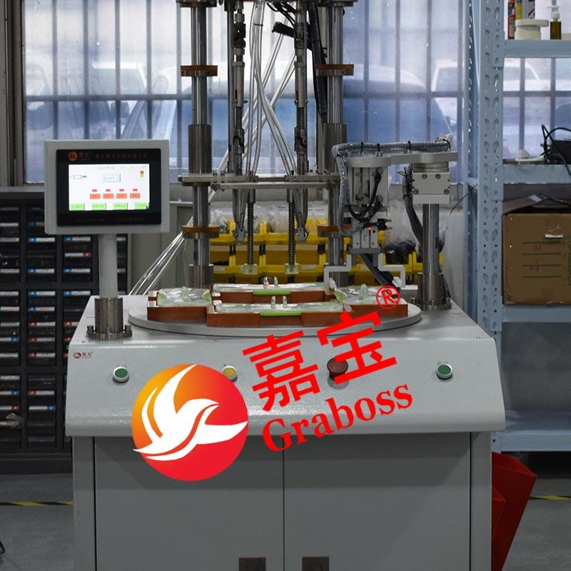 浙江嘉兴某有限公司落地转盘式4轴锁拖把螺丝机案例
