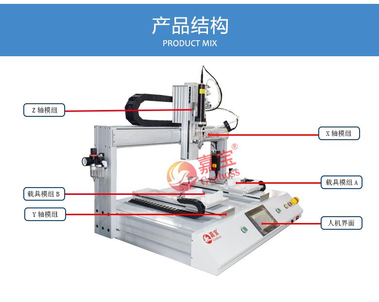 桌面型锁螺丝机_双Y气吹式全自动锁电池盒螺丝机结构图