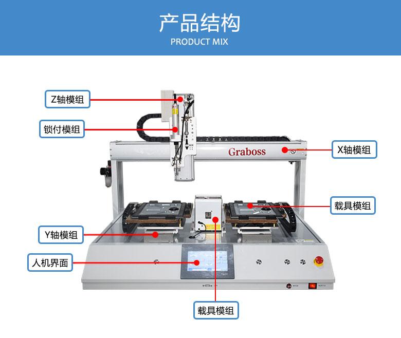 桌面型四轴双Y锁苹果配件螺丝机结构图